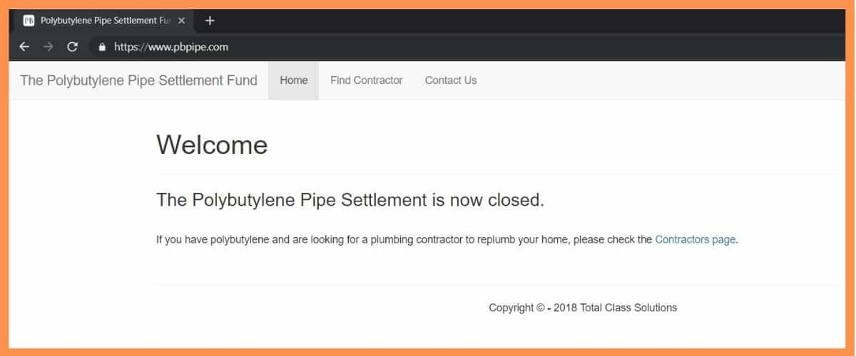 Polybutylene Settlement Funds is Closed